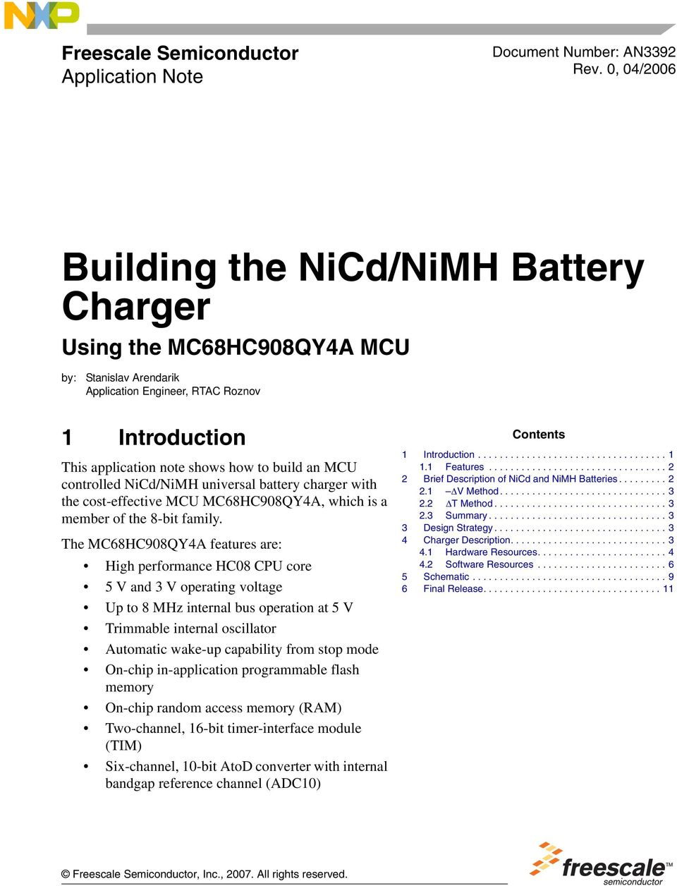 Building The Nicd Nimh Battery Charger Using Mc68hc908qy4a Mcu Pdf Automatic Circuit Controlled Universal With Cost Effective Mc68hc908qya Which