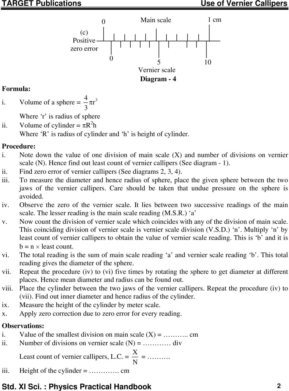 Std Xi Science Physics Practical Handbook Pdf Vernier Caliper Diagram Note Down The Value Of One Division Main Scale X And Number 10 Use Callipers