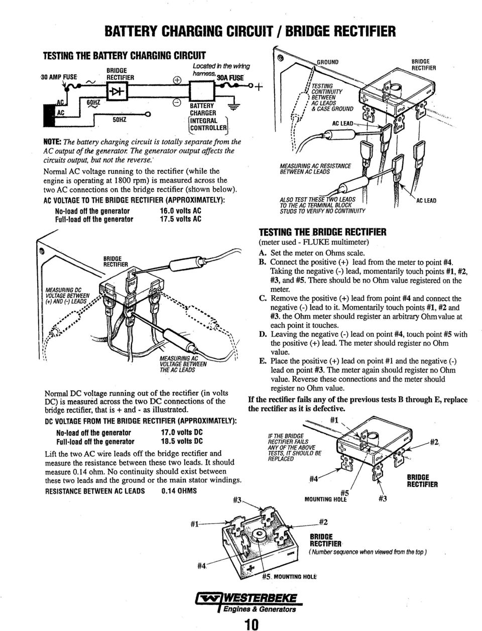Ac Electrical Testing And Troubleshooting Guide Pdf Stamford Generator Wiring Diagram Battery Charger Normal Voltage Running To The Rectifier While Engine Is Operating At 1800 Rpm