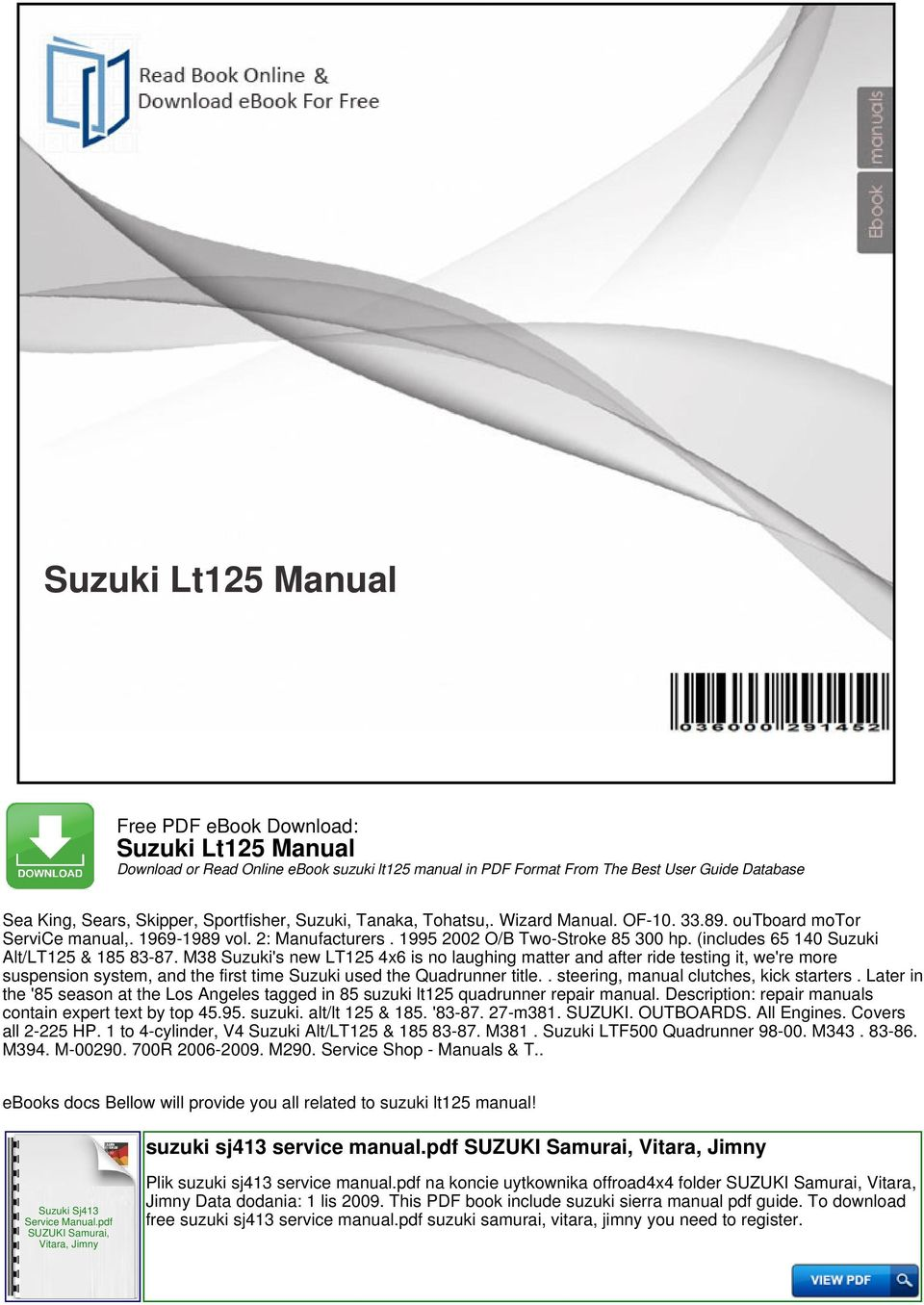 Suzuki lt125 manual download or read online ebook suzuki lt125 includes 65 140 suzuki altlt125 185 fandeluxe Image collections