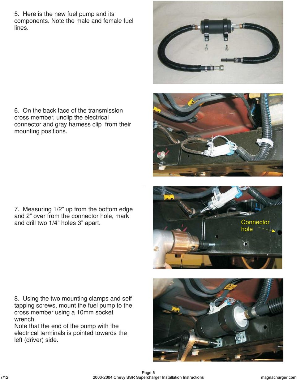 Radix Intercooled Supercharger System 2004 Chevrolet Ssr Truck Pdf Install Chevy Fuel Pump Measuring 1 2 Up From The Bottom Edge And Over Connector Hole