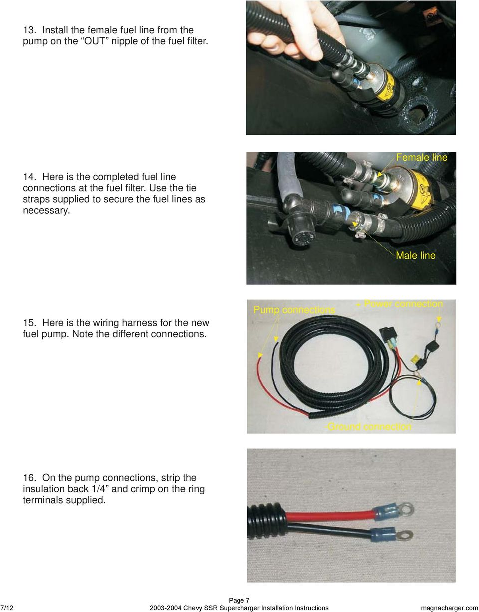 Radix Intercooled Supercharger System 2004 Chevrolet Ssr Truck Pdf Install Chevy Fuel Pump Use The Tie Straps Supplied To Secure Lines As Necessary Male Line 15