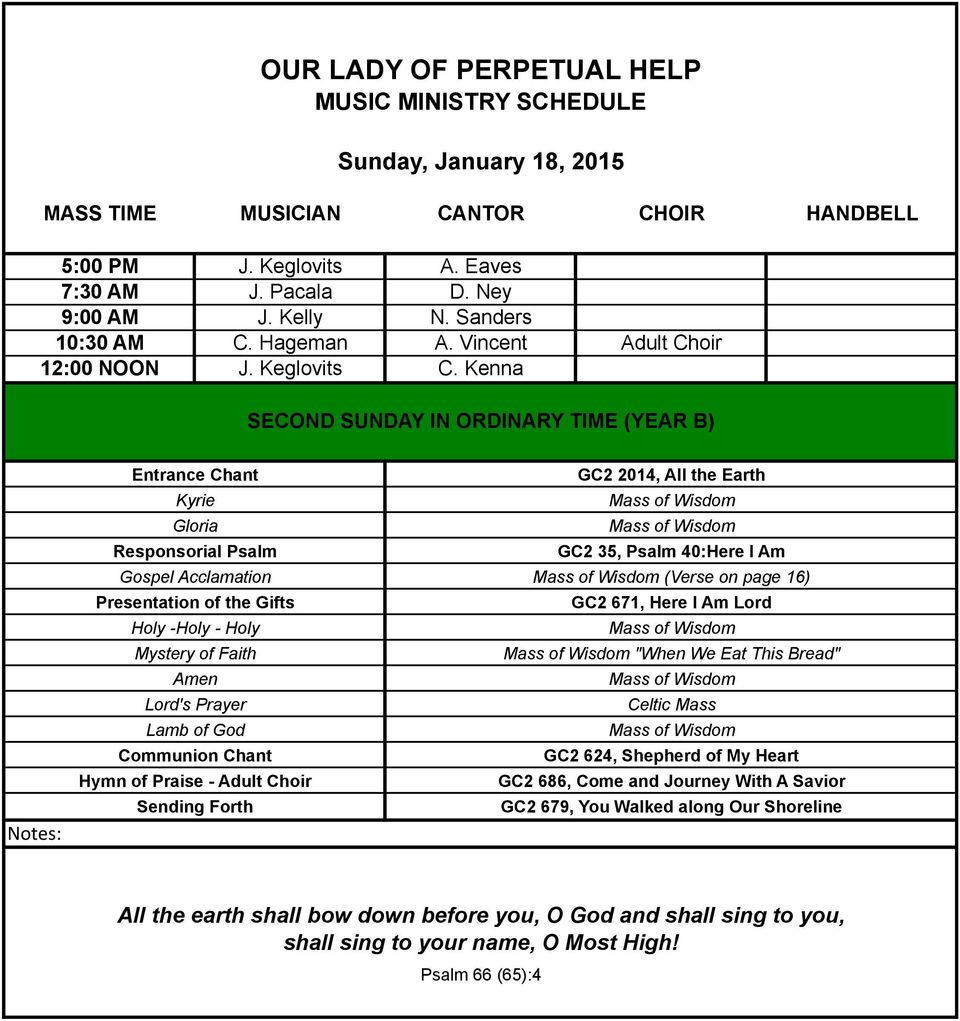 OUR LADY OF PERPETUAL HELP MUSIC MINISTRY SCHEDULE - PDF