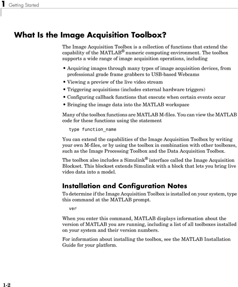 Image Acquisition Toolbox For Use with MATLAB - PDF