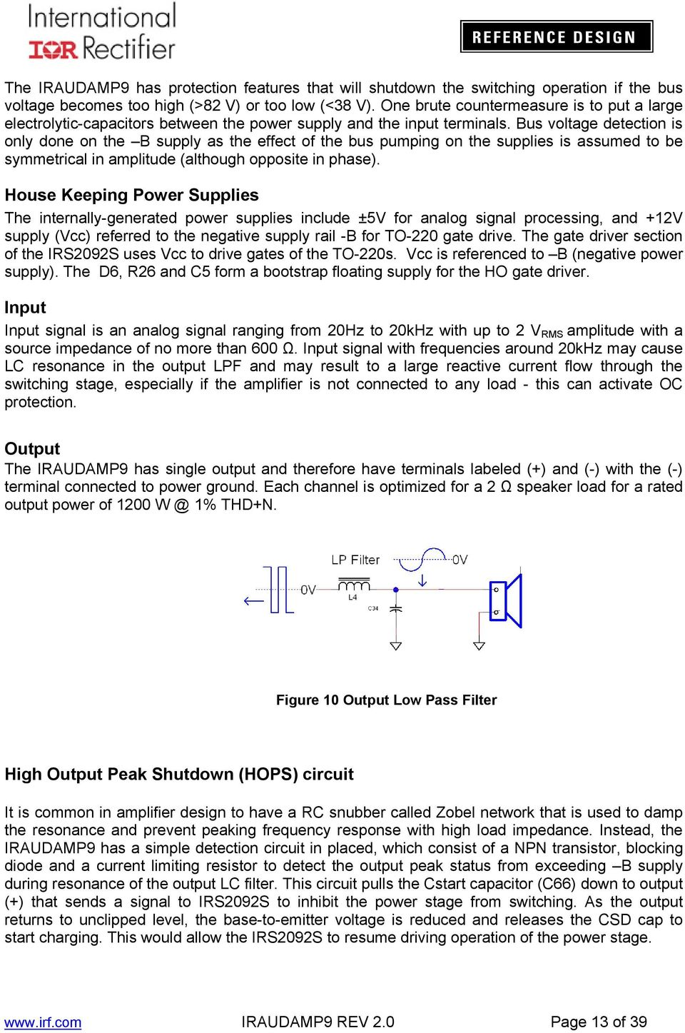 Iraudamp Kw 2 Single Channel Class D Audio Power Amplifier Using 12v 8211 32 V 5a Supply By Lm338 Bus Voltage Detection Is Only Done On The B As Effect Of