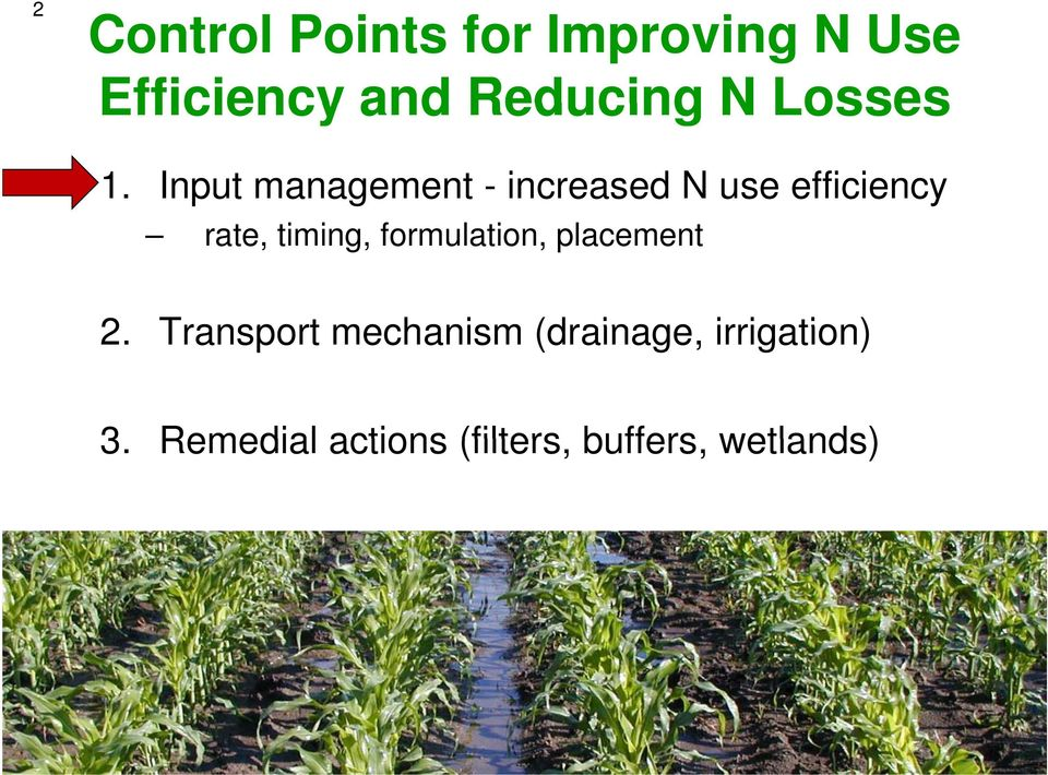 Input management - increased N use efficiency rate, timing,