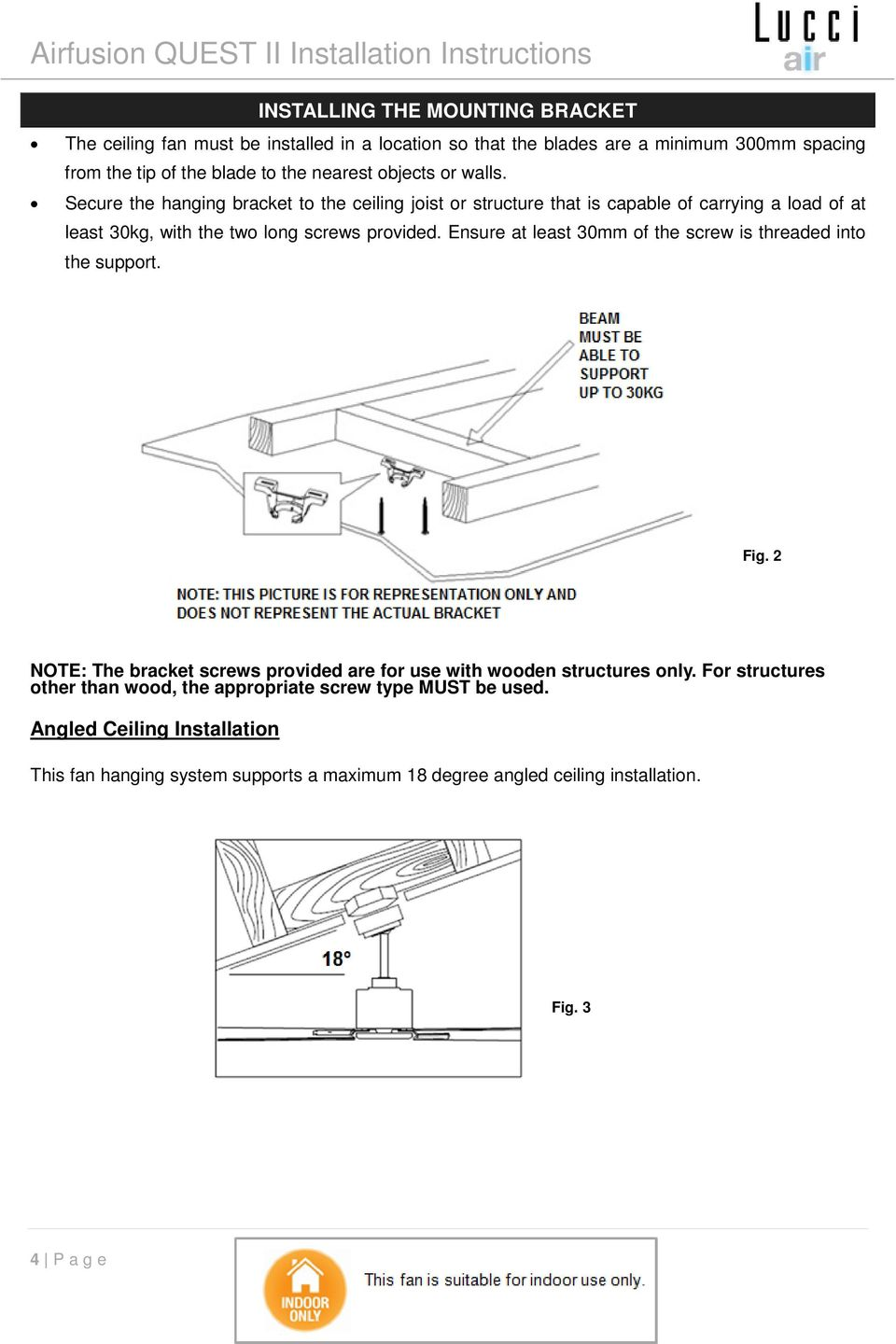 Lucci Airfusion Quest Ii Ceiling Fan Pdf Hunter Remote Wiring Diagram Besides 4 Way Switches Ensure At Least 30mm Of The Screw Is Threaded Into Support Fig 2