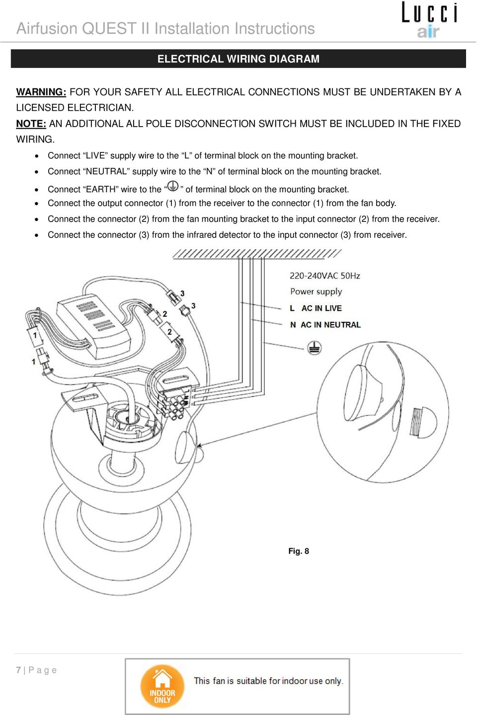 Lucci Airfusion Quest Ii Ceiling Fan Pdf 240 Vac Plug Wiring Diagram Connect Neutral Supply Wire To The N Of Terminal Block On Mounting Bracket