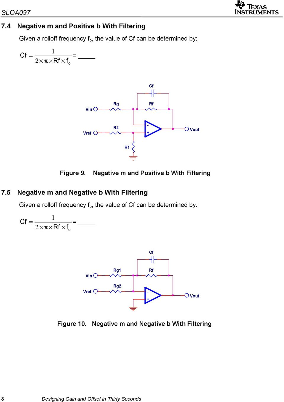 5 Negative m and Negative b With Filtering Given a rolloff frequency f o, the value of Cf can be