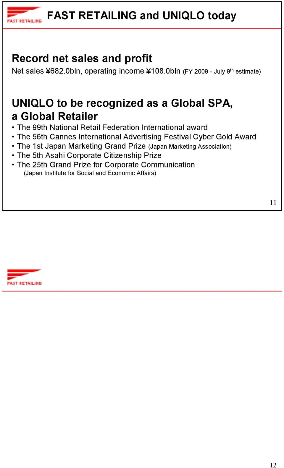 International award The 56th Cannes International Advertising Festival Cyber Gold Award The 1st Japan Marketing Grand Prize (Japan