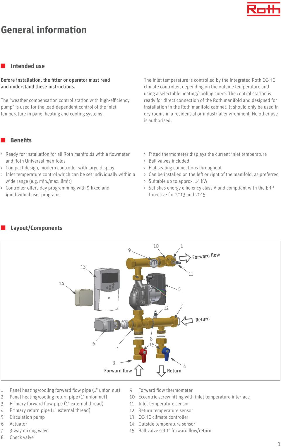 Roth Weather Compensation Control Station With High Efficiency Pump Drayton Central Heating Programmer Wiring Diagram The Inlet Temperature Is Controlled By Integrated Cc Hc Climate Controller Depending