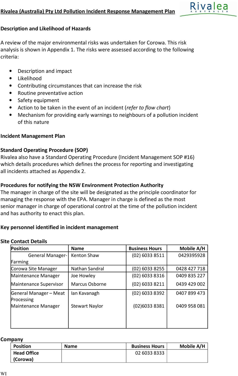 Rivalea Australia Pty Ltd Pollution Incident Response Management S Op Process Flow Chart Action To Be Taken In The Event Of An Refer