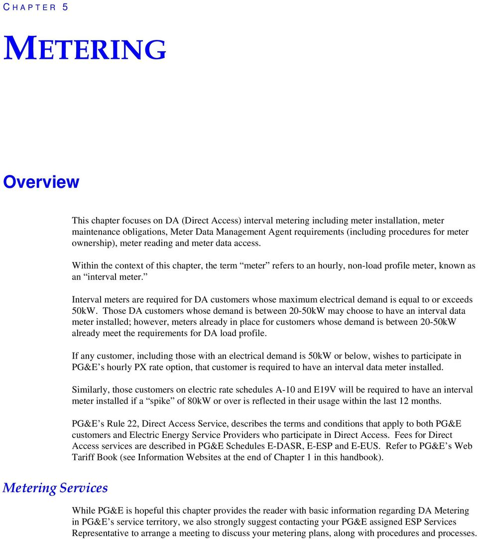 METERING  Overview  Metering Services C HAPTER 5 - PDF