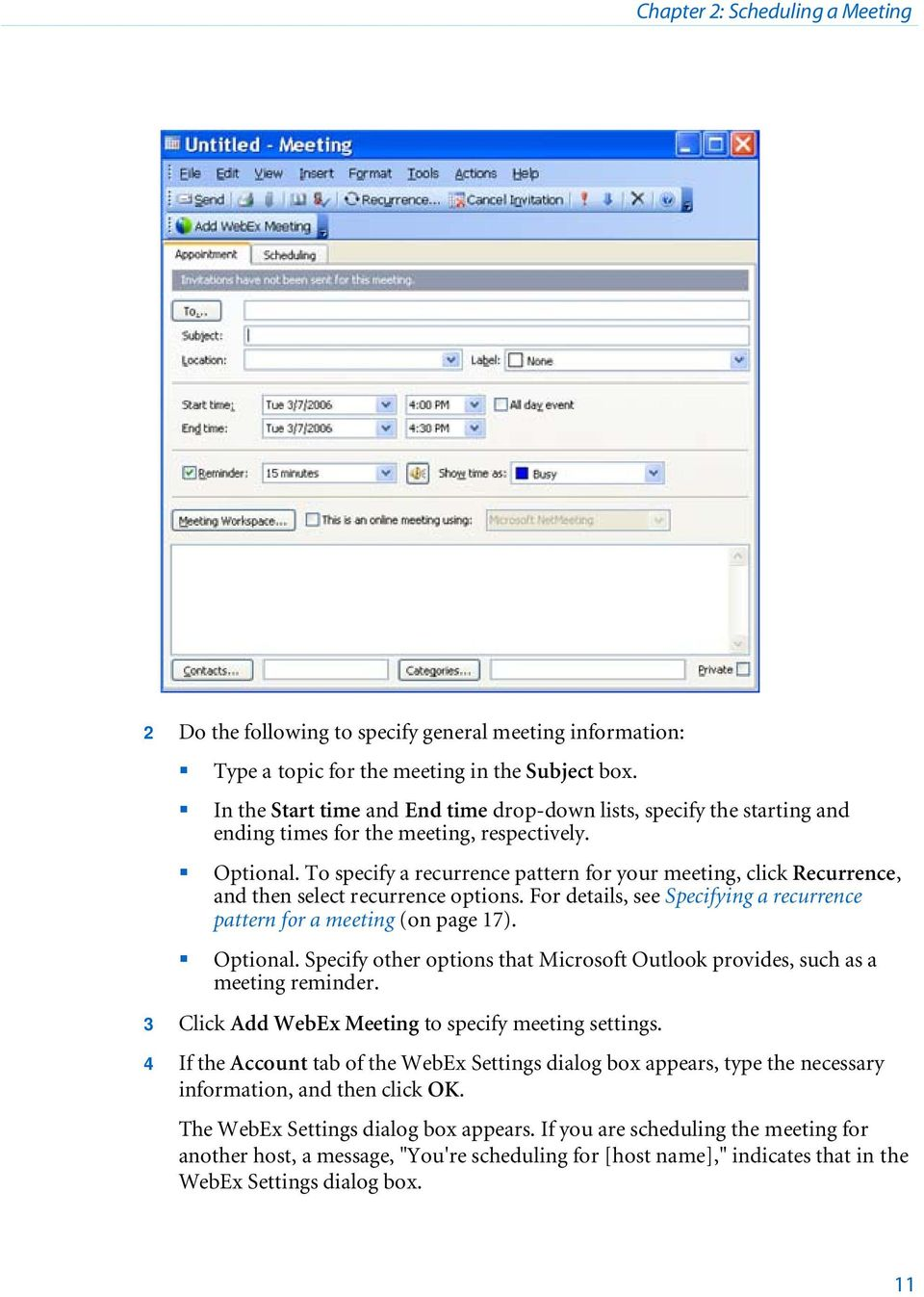 WebEx Integration to Outlook - PDF