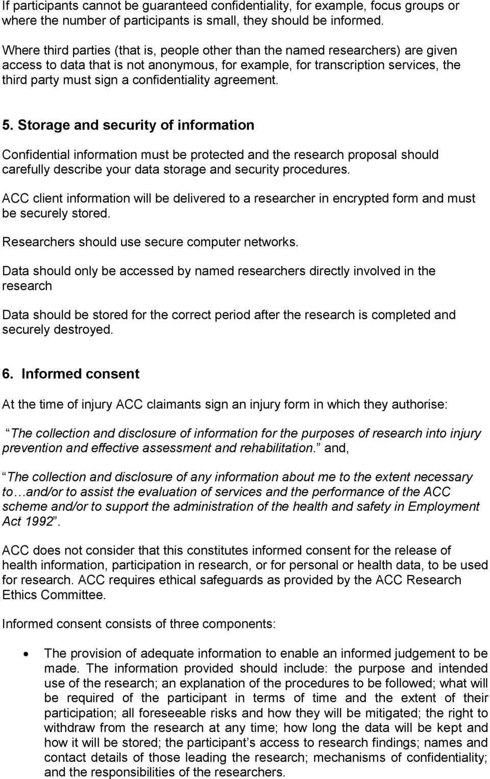 Application Guide to assist completion of the ACC Research Ethics