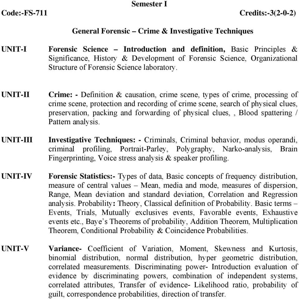 m.sc. forensic science outline of course structure - pdf