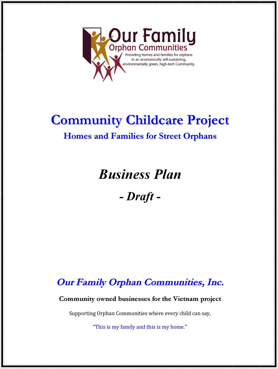business plan draft supporting orphan communities where every