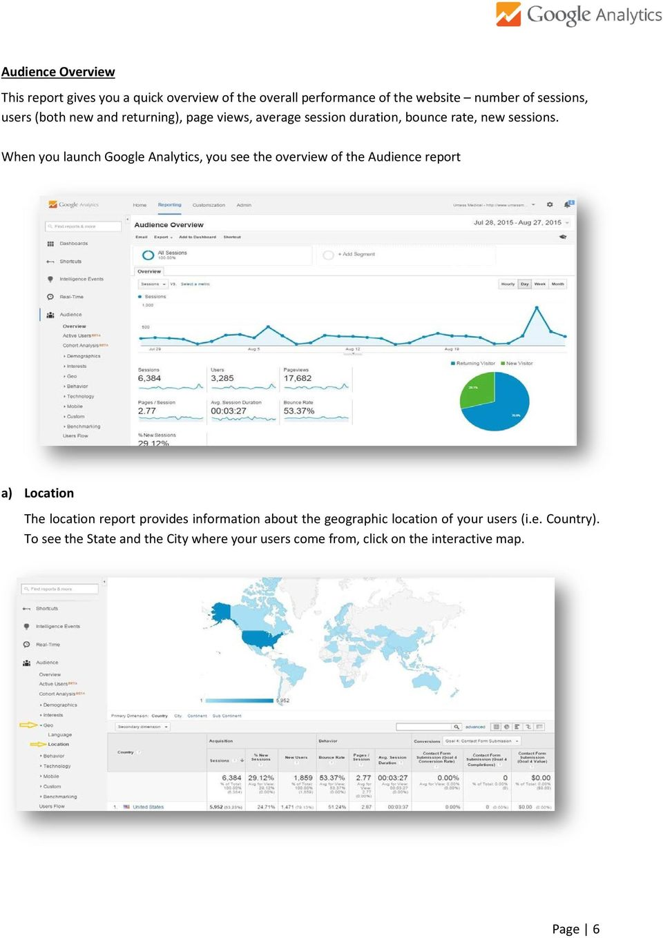 When you launch Google Analytics, you see the overview of the Audience report a) Location The location report provides