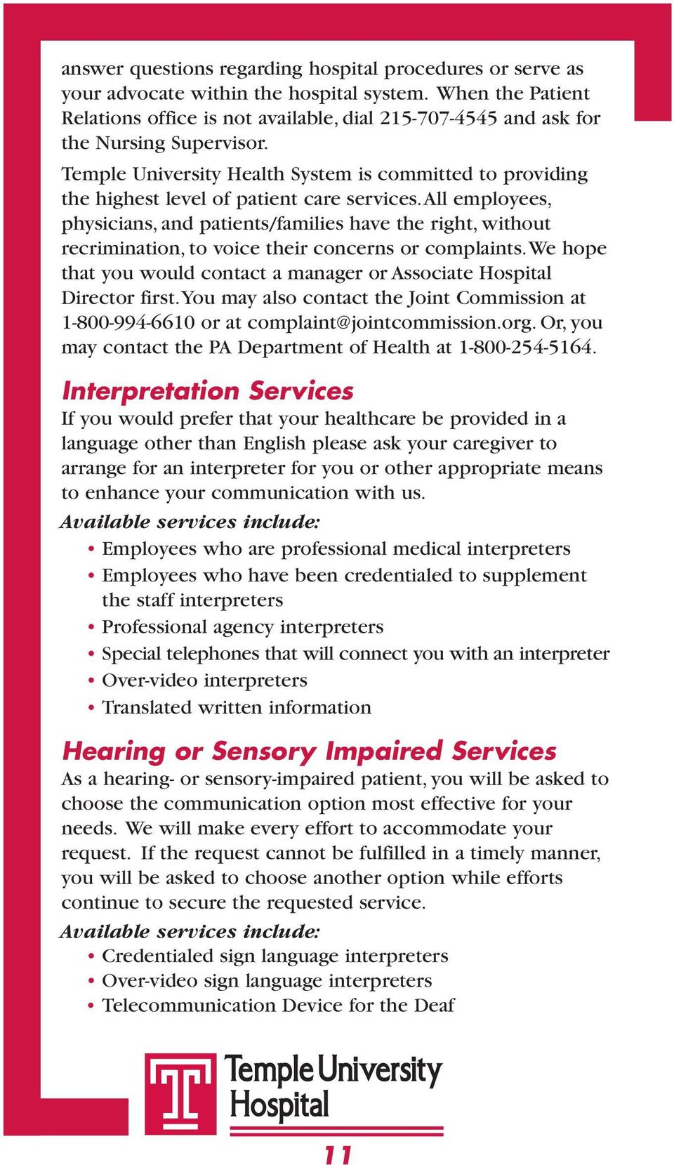 Welcome to Temple University Hospital - PDF