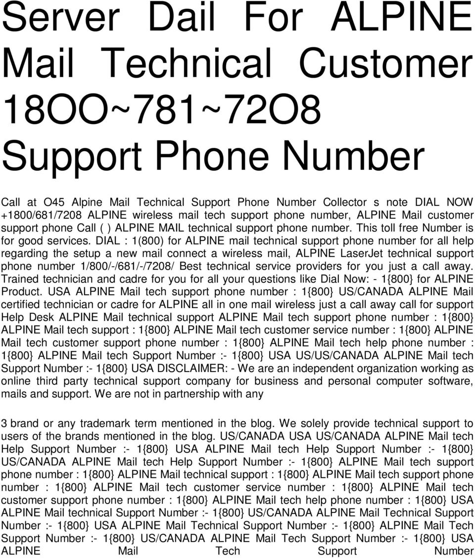 Server Dail For ALPINE Mail Technical Customer 18OO~781~72O8