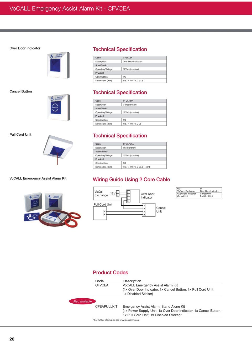 Cooper Fire Systems Emergency Voice Communication Pdf Pull Cord Wiring Dimensions Mm Cfeapull Unit 12v Dc Nominal Pc H 87