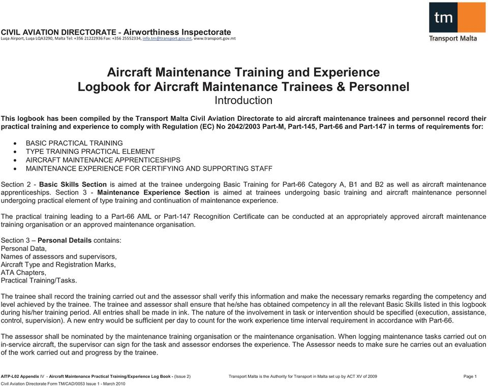 5676d52725e Aircraft Maintenance Training and Experience Logbook for Aircraft ...