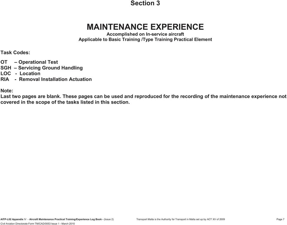 41380fd0c8b These pages can be used and reproduced for the recording of the maintenance  experience not covered