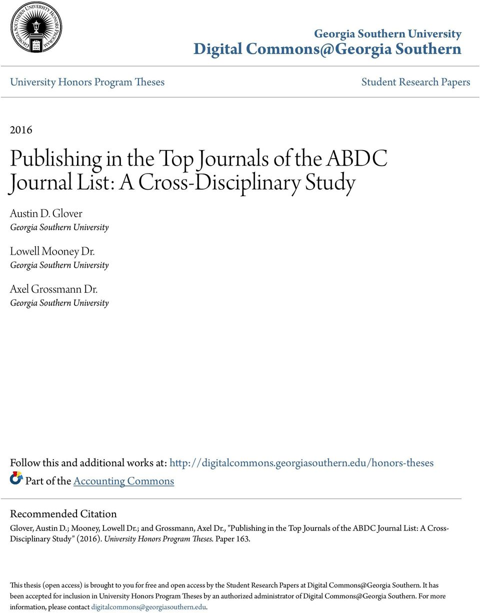 Publishing in the Top Journals of the ABDC Journal List: A