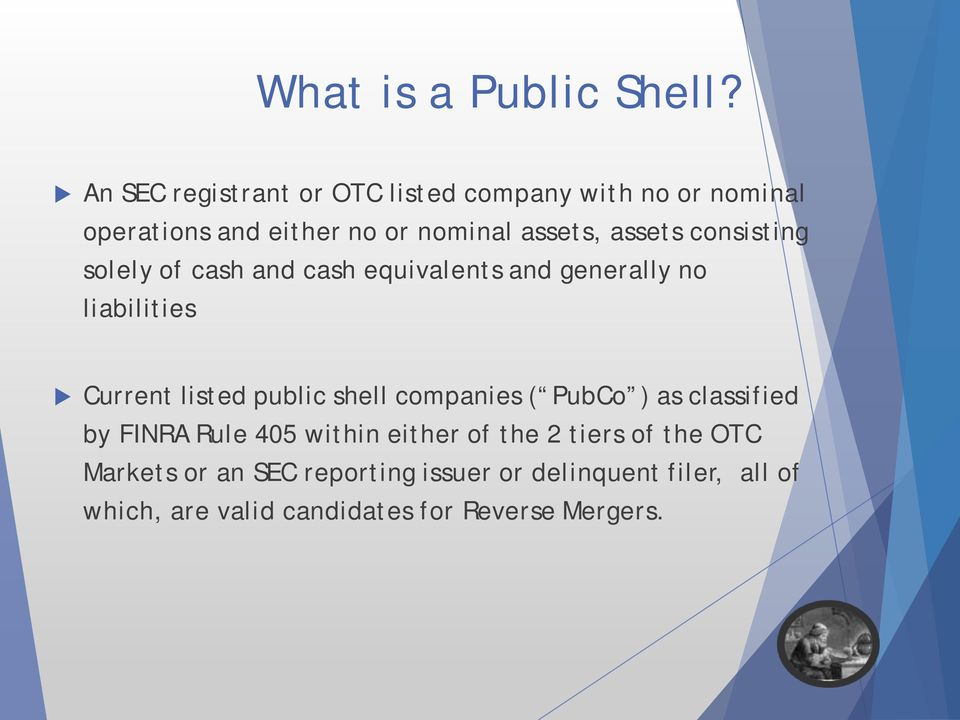 consisting solely of cash and cash equivalents and generally no liabilities Current listed public shell
