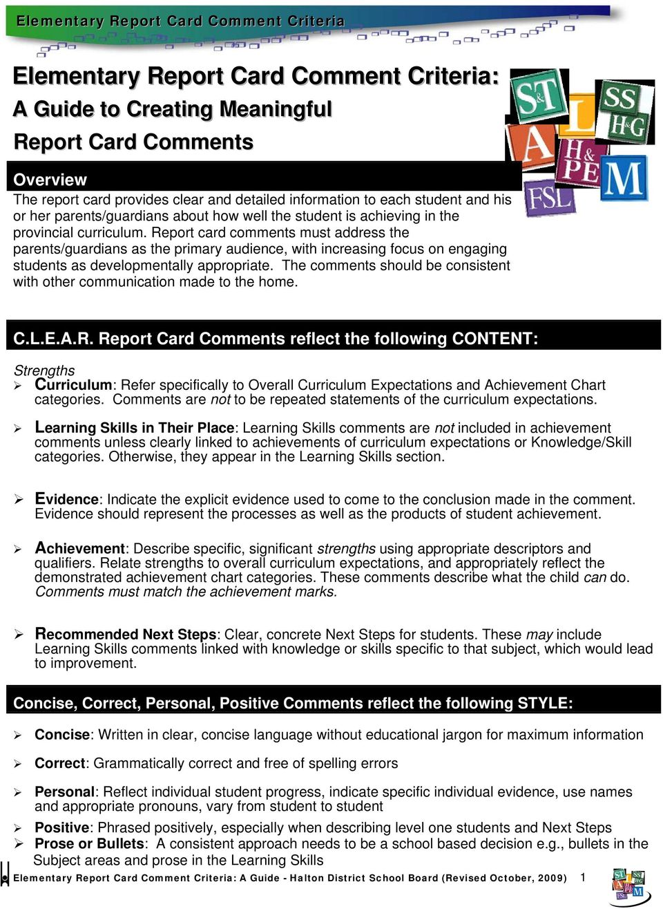 Elementary Report Card Comment Criteria - PDF