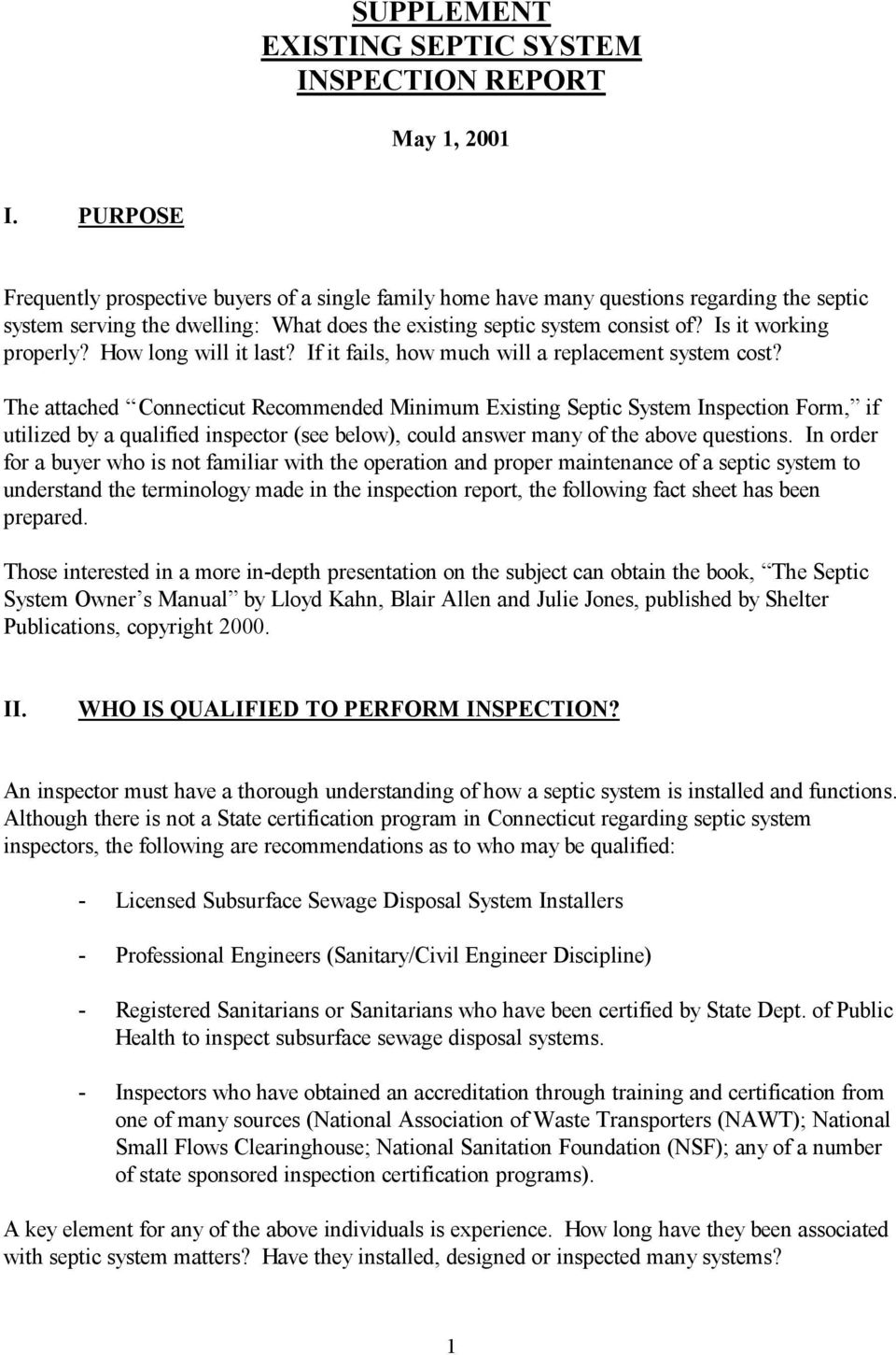 Supplement Existing Septic System Inspection Report Pdf