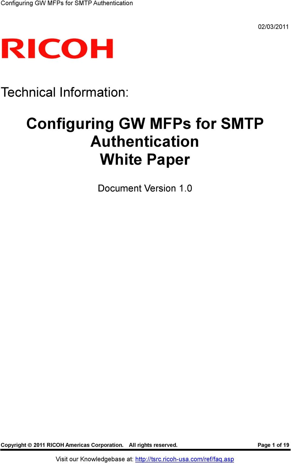 Configuring GW MFPs for SMTP Authentication White Paper - PDF