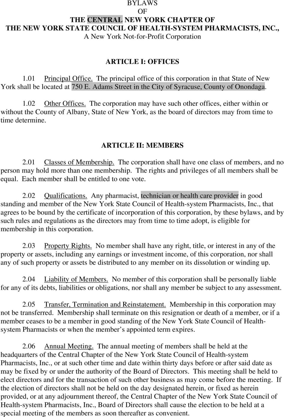 Bylaws Of The Central New York Chapter Of The New York State Council