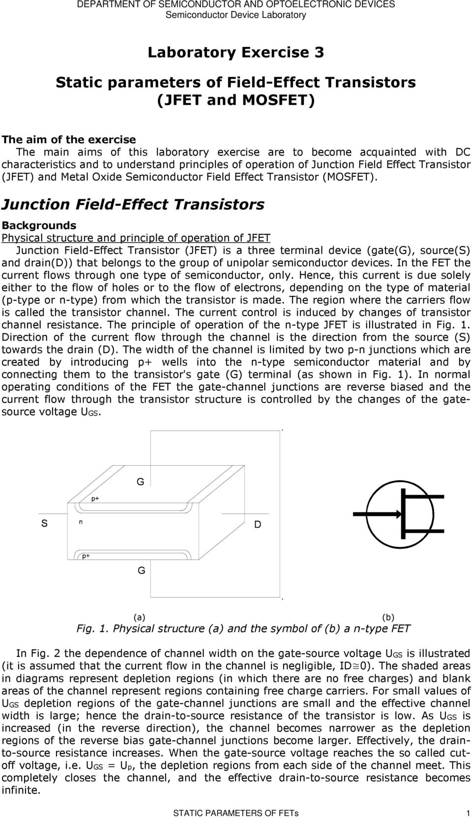 Laboratory Exercise 3 Static Parameters Of Field Effect Transistors How To Test Fetsjfet And Mosfet Circuit Wiring Diagrams Junction Backgrounds Physical Structure Principle Operation Jfet