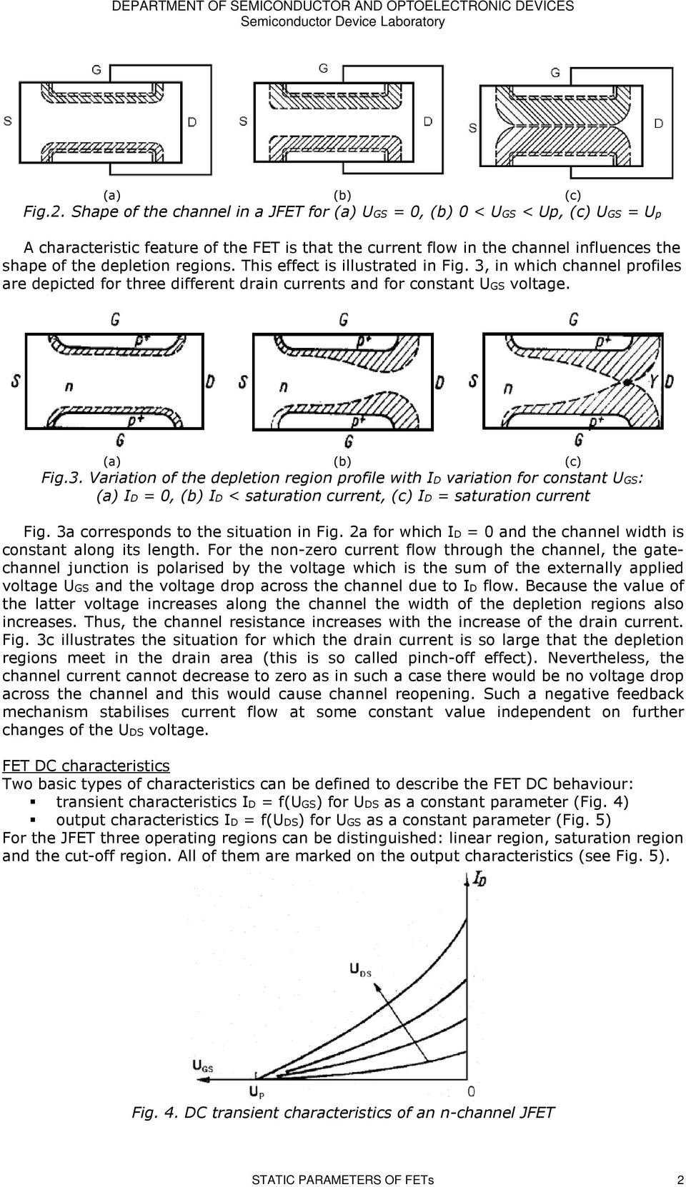 Laboratory Exercise 3 Static Parameters Of Field Effect Transistors How To Test Fetsjfet And Mosfet Circuit Wiring Diagrams Regions This Is Illustrated In Fig Which Channel Profiles Are