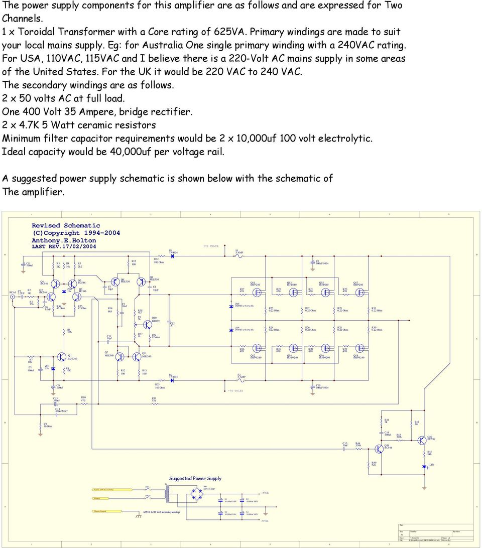 Construction Notes For The Symmetrical 400 Watt Amplifier Pdf Simple 8amp Regulated Power Supply Circuit Diagram Usa 110vac 115vac And I Believe There Is A 220 Volt Ac