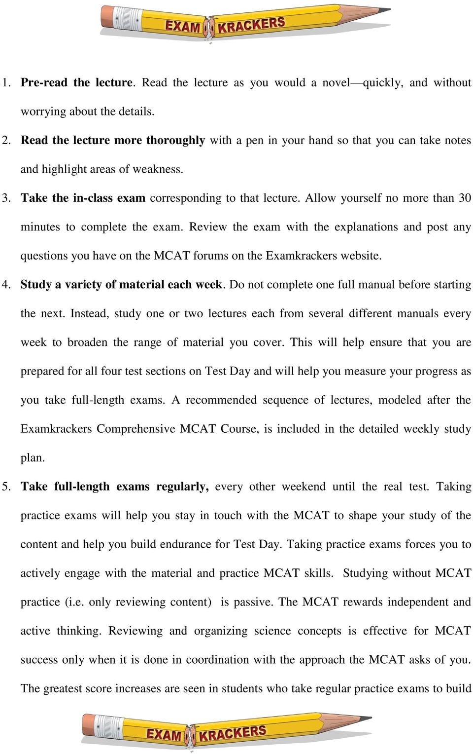 over 20 bonus mcat ebooks Array - examkrackers home study schedule pdf rh  docplayer net