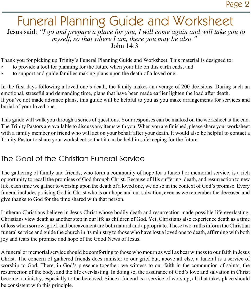 funeral planning guide and worksheet pdf
