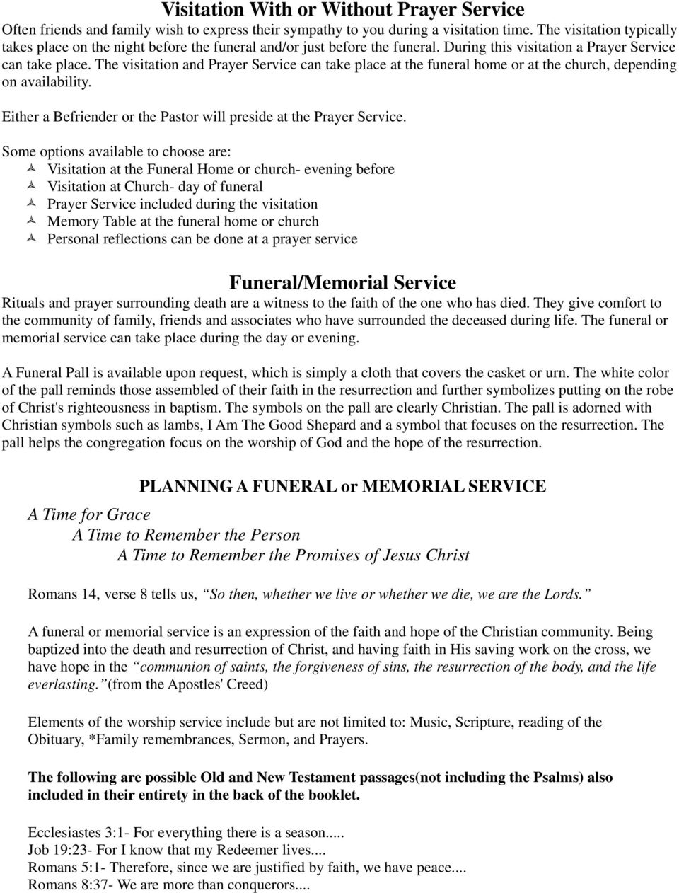 Immanuel Lutheran Funeral Planning Guide  Immanuel Lutheran
