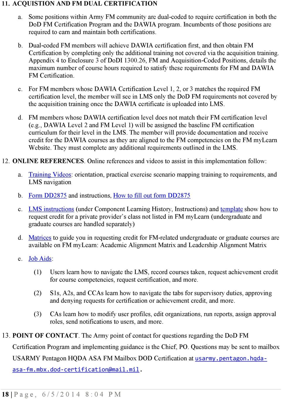 United States Army Dod Financial Management Certification Program