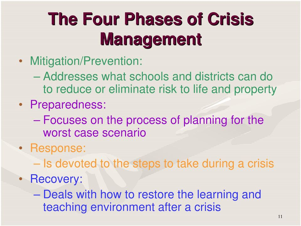 process of planning for the worst case scenario Response: Is devoted to the steps to take