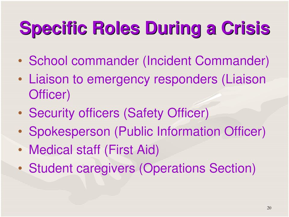 Security officers (Safety Officer) Spokesperson (Public