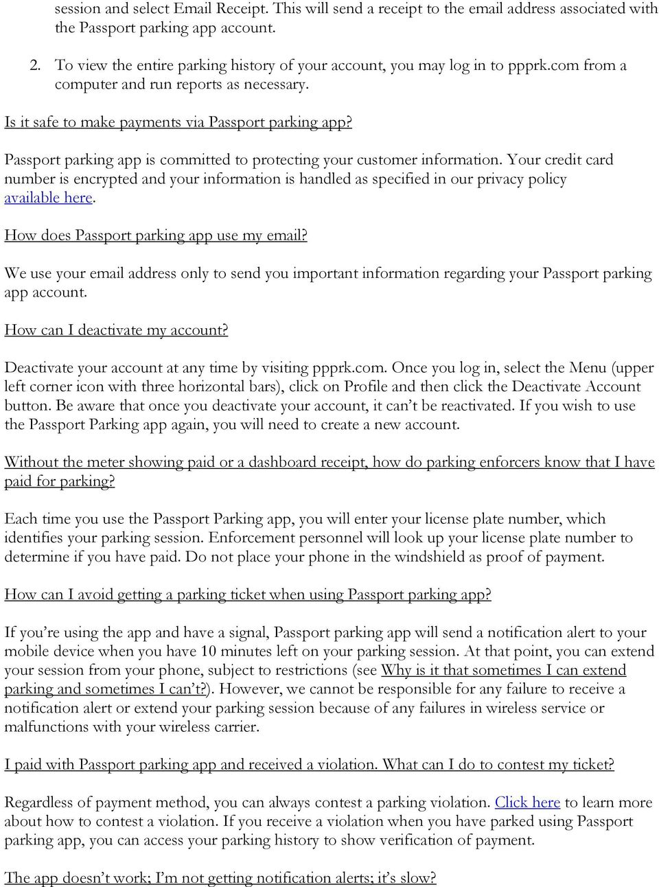 Passport parking app Frequently Asked Questions - PDF