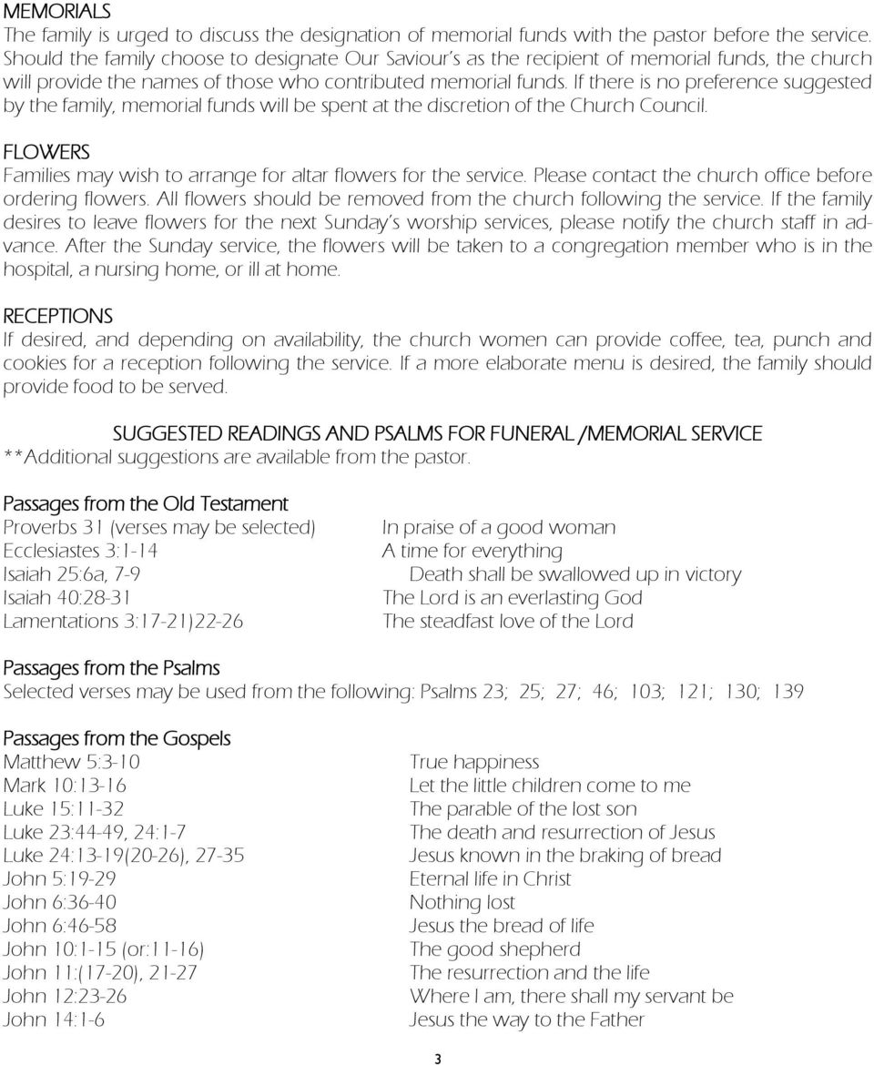 Funeral or Memorial Service Planning Guide for Our Saviour s