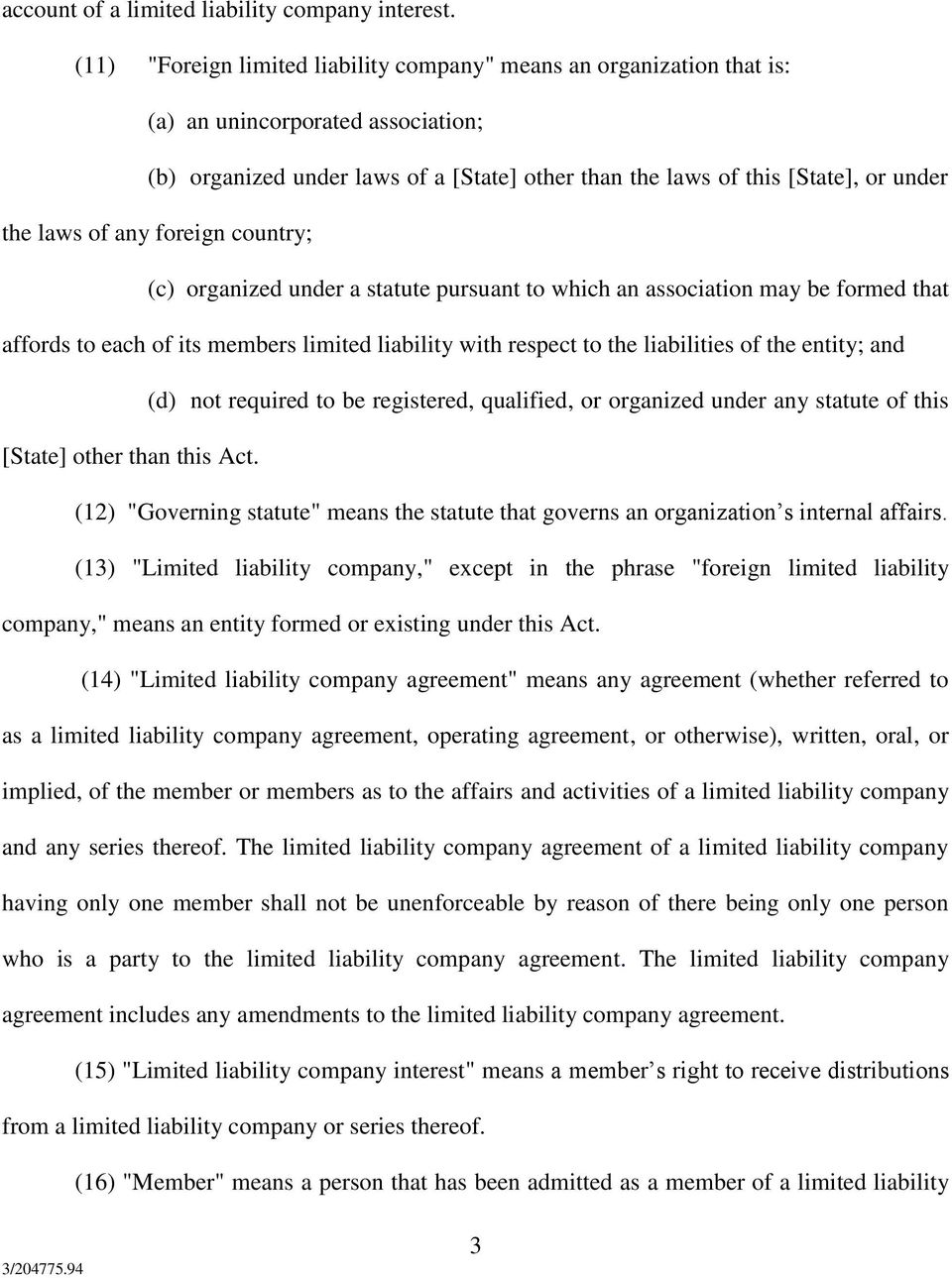 revised prototype limited liability company act - pdf