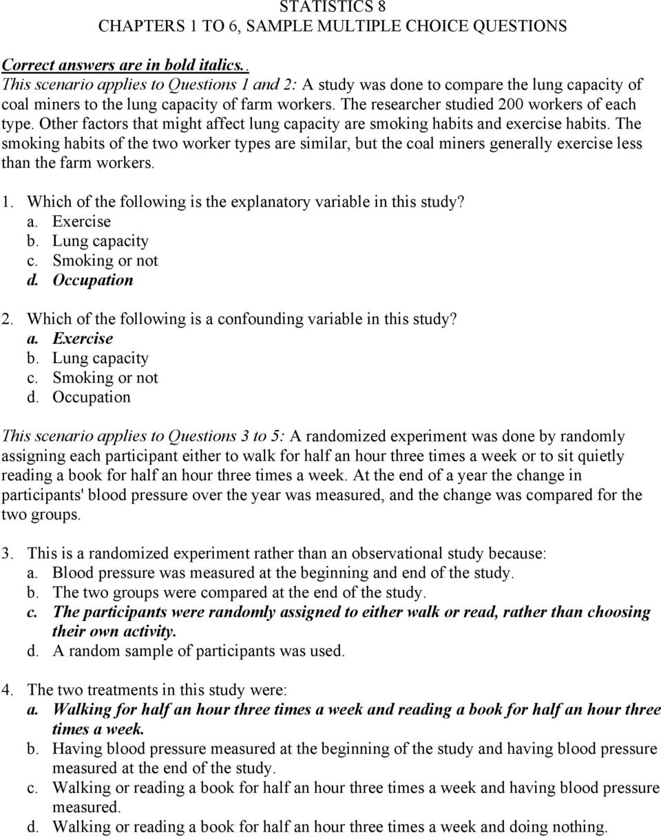 statistics 8 chapters 1 to 6 sample multiple choice questions pdf