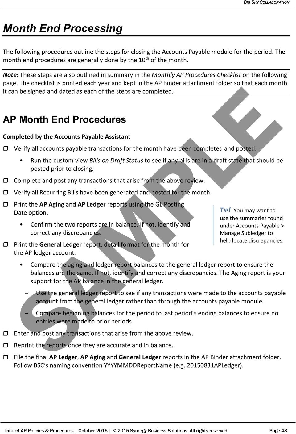 SAMPLE ACCOUNTS PAYABLE  Policies & Procedures FOR  Version Edited