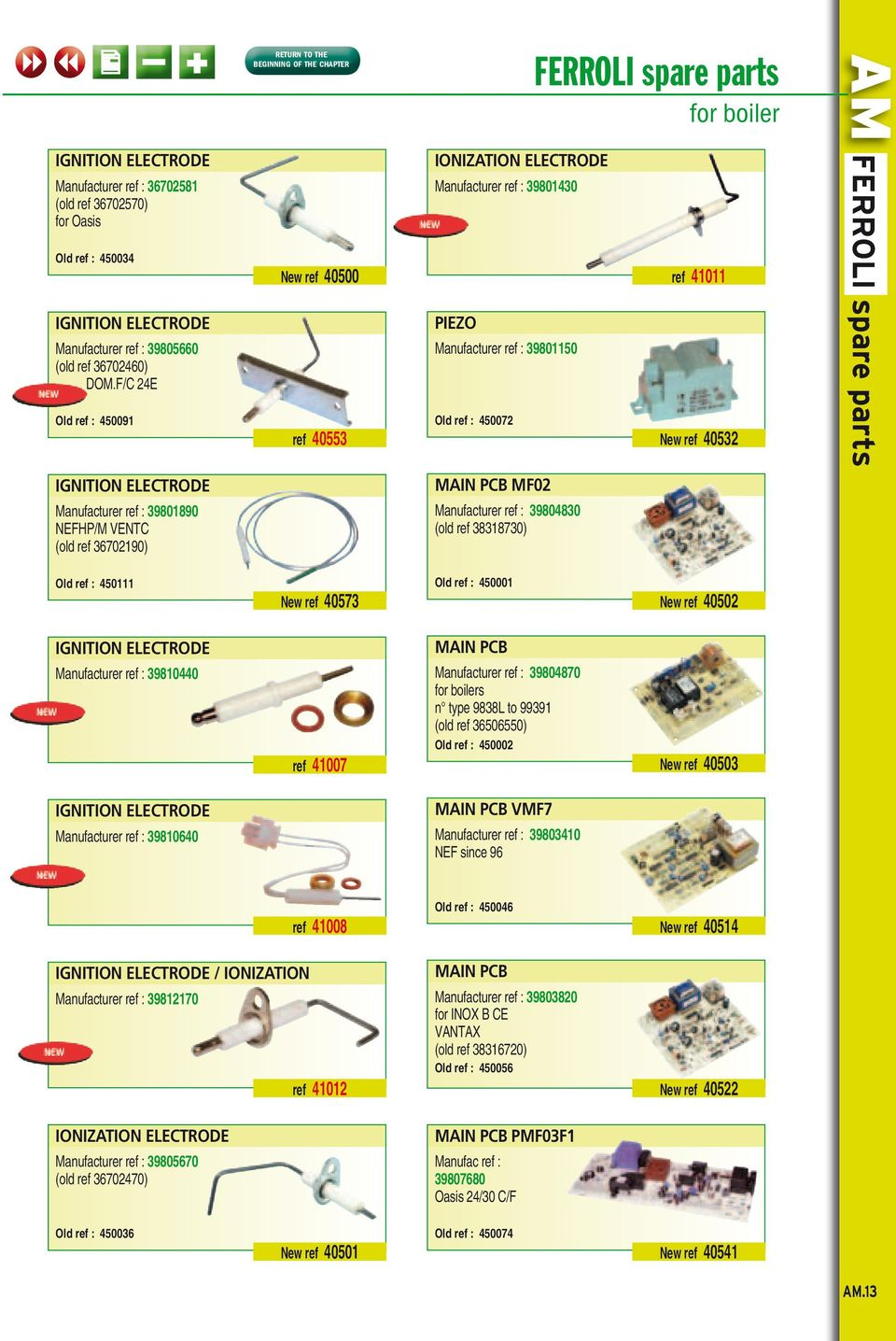 FERROLI Main PCB VMF7. Other spare. parts for wall gas boilers. see ...