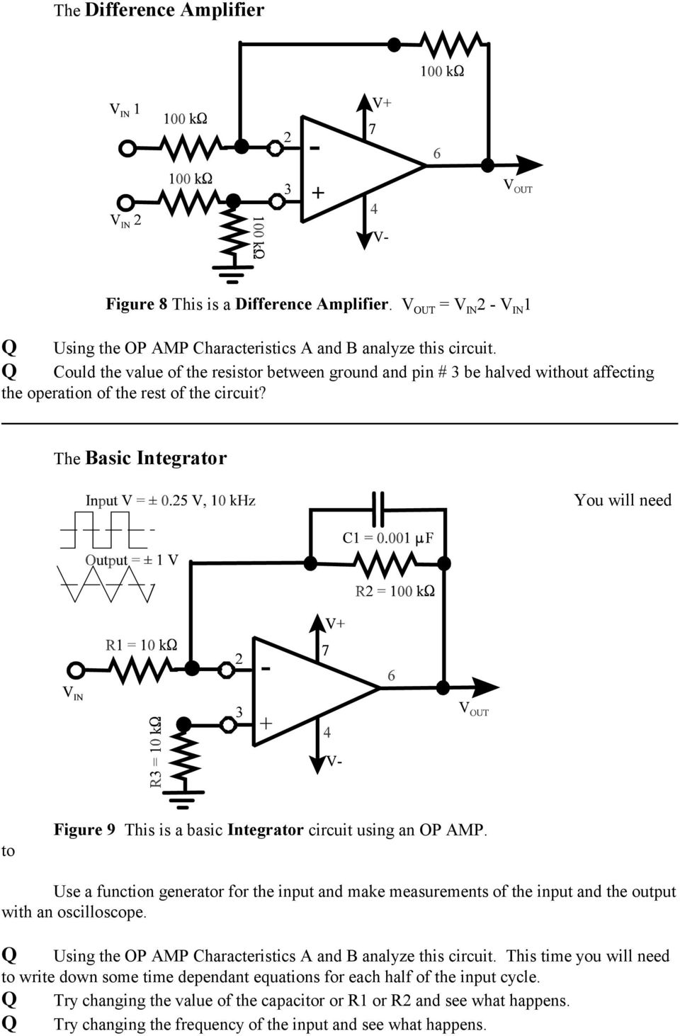 The Op Amp Figure 1 Pdf 741 Opamp Is A Common General Purpose Operational Amplifier Basic Integrator You Will Need To 9 This Circuit Using