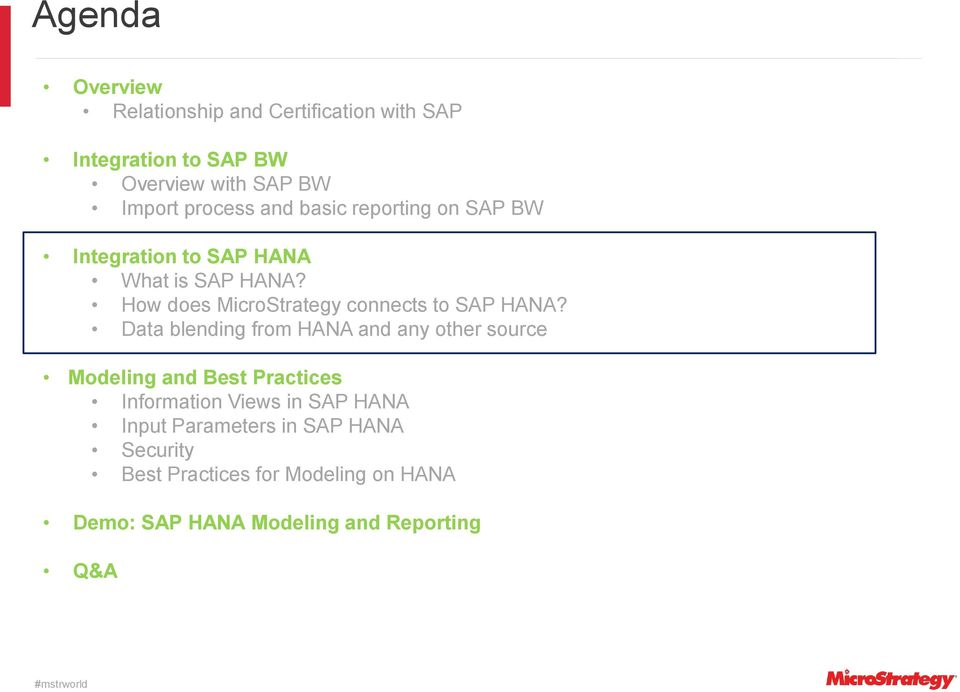 Running Analytics On Sap Hana And Bw With Microstrategy Pdf
